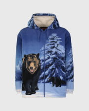 Full-Zip Plush Sherpa Animal Hoodie - Grizzly Bear