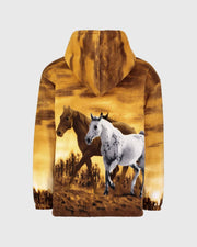 Plush Sherpa Full-Zip Animal Hoodie - Wild Horses