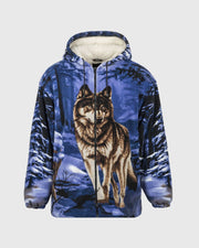 Plush Sherpa Full-Zip Animal Hoodie - Blue Wolf