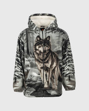 Full-Zip Plush Sherpa Animal Hoodie - Gray Wolf
