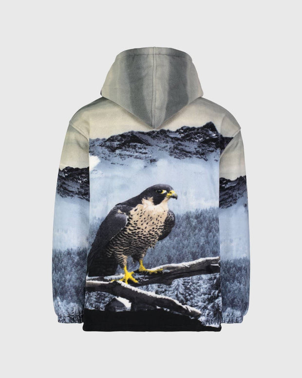 Plush Sherpa Full-Zip Animal Hoodie - Mystic Falcon