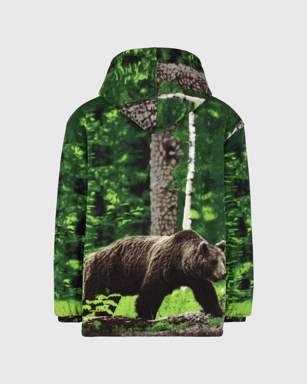 Plush Sherpa Full-Zip Animal Hoodie - Black Bear
