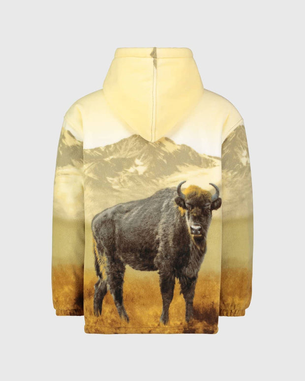 Plush Sherpa Full-Zip Animal Hoodie - American Bison - Wildkind