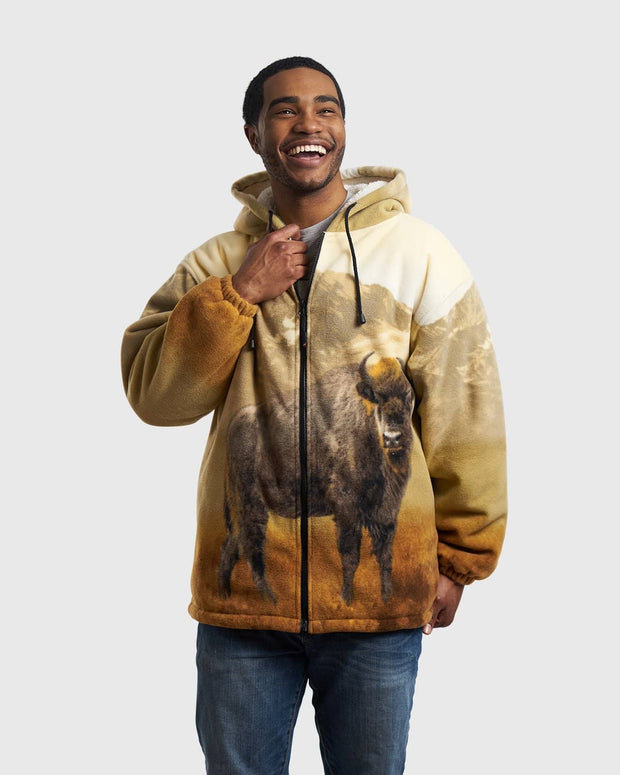 Plush Sherpa Full-Zip Animal Hoodie - American Bison