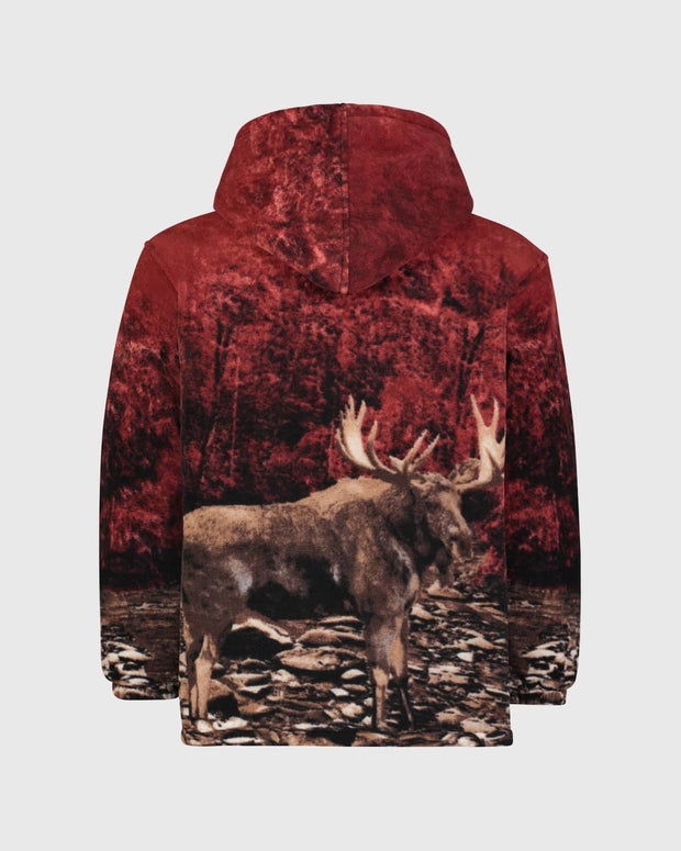 Plush Sherpa Full-Zip Animal Hoodie - Bull Moose