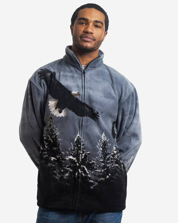 Full-Zip Fleece Animal Sweatshirt - Gray Eagle - Wildkind