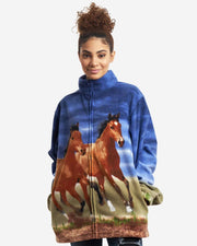 Full-Zip Fleece Animal Sweatshirt - Sunset Horses - Wildkind