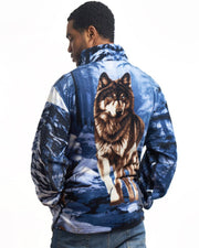 Full-Zip Fleece Animal Sweatshirt - Blue Wolf - Wildkind
