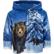 Toddlers Fleece Animal Hoodie - Grizzly Bear - Wildkind
