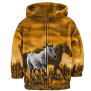 Toddlers Fleece Animal Hoodie - Wild Horses