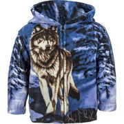 Toddlers Fleece Animal Hoodie - Blue Wolf - Wildkind