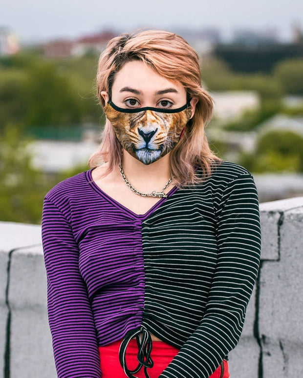 Animal Print Protective Reusable Face Mask - Fierce Lion - Wildkind