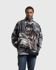 Full-Zip Fleece Animal Sweatshirt - Gray Wolf