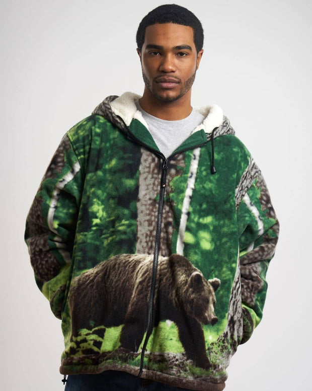 Plush Sherpa Full-Zip Animal Hoodie - Black Bear - Wildkind