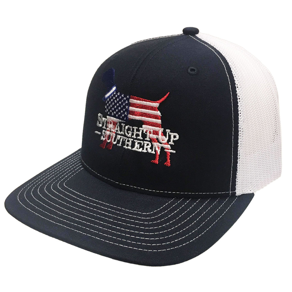 USA Dog Navy White Richardson Mesh Hat - 15737