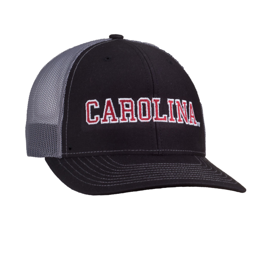 Carolina Logo - Richardson Mesh Hat - Black/Grey - 15884