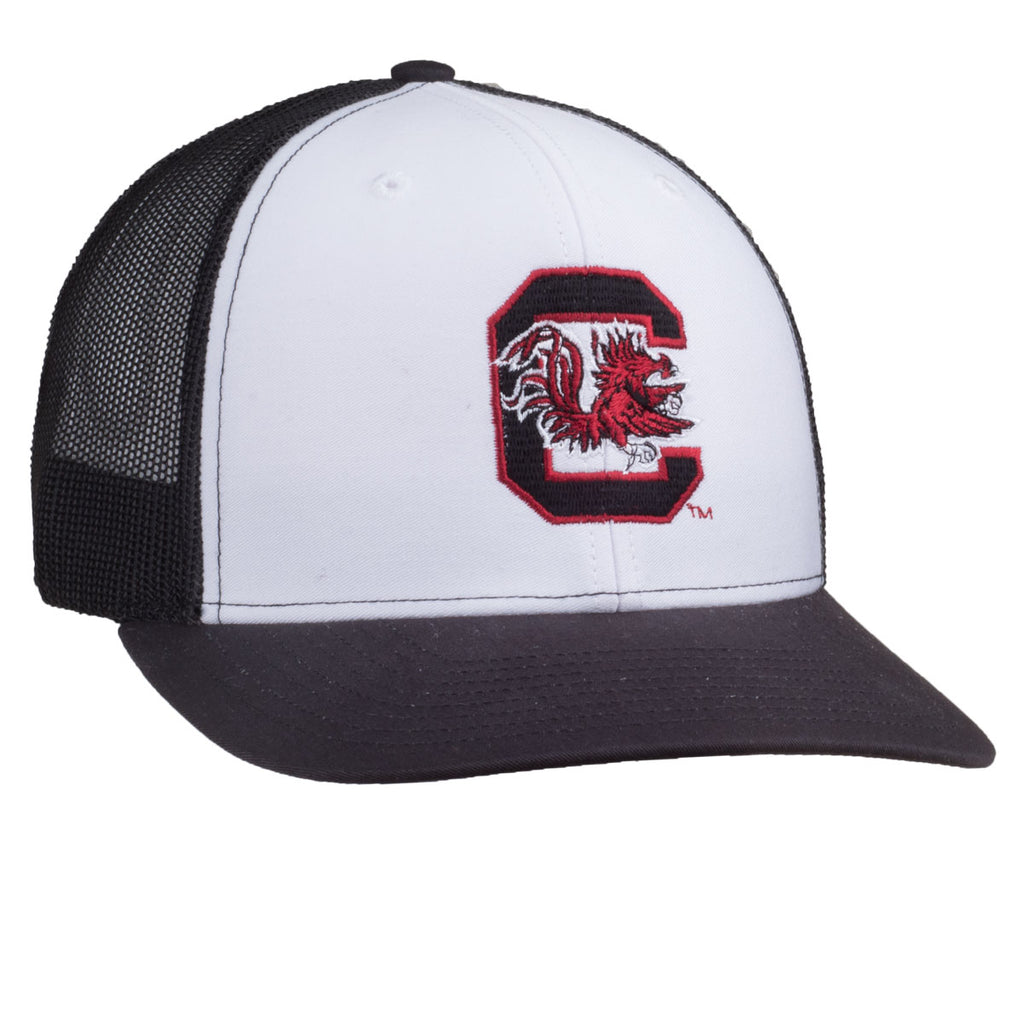 Block C Logo - Richardson Mesh Hat - White/Black - 15887