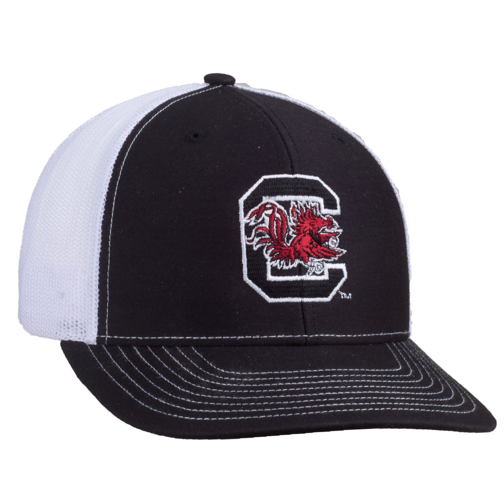 Block C Logo - Richardson Mesh Hat - Black/White - 15893