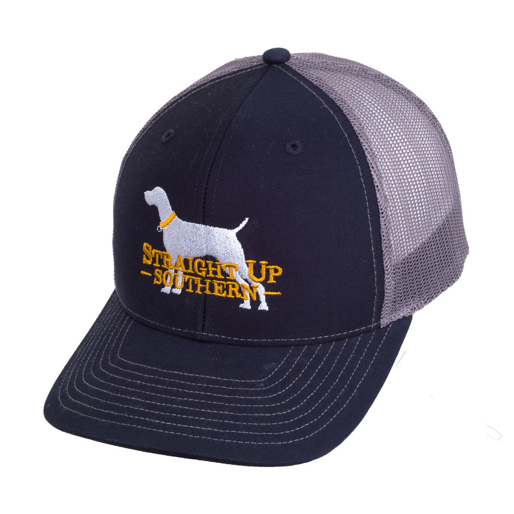 Dog Logo Navy Charcoal Richardson Mesh Hat - 17464