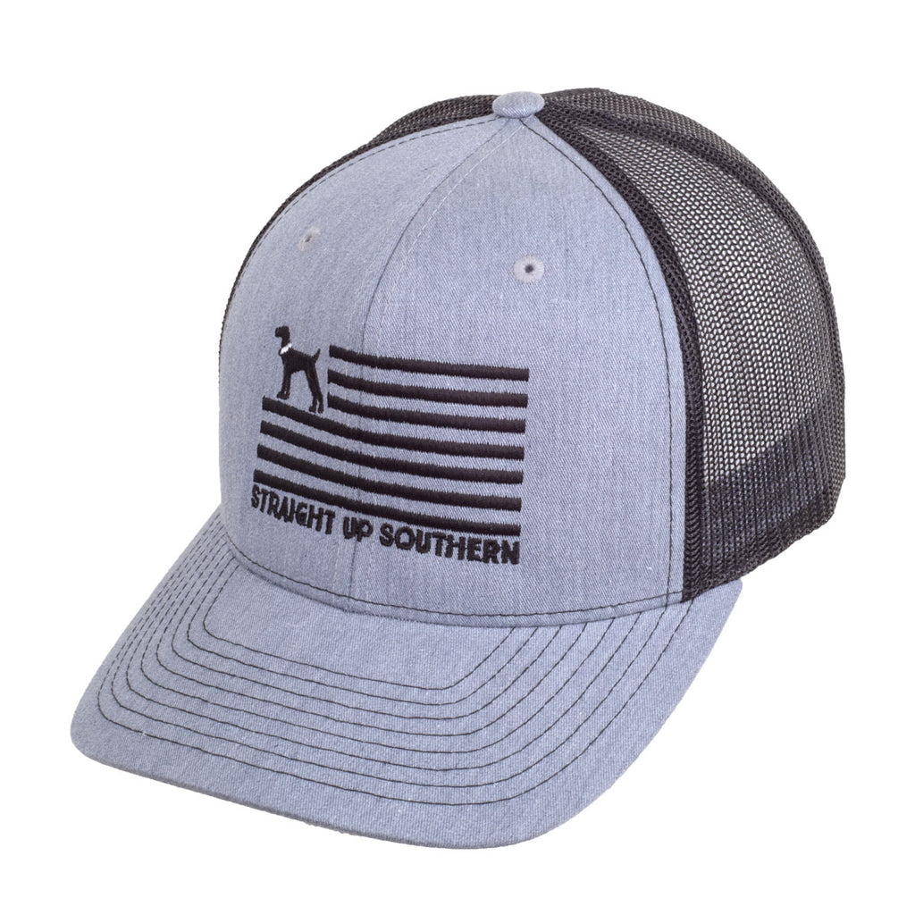 Dog Flag Grey Black Richardson Mesh Hat - 17463