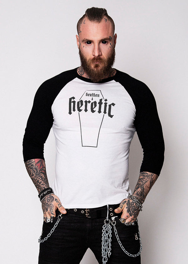 Heathen+Heretic Unisex Heretic Coffin 3/4 Sleeve T-Shirt - Black and White