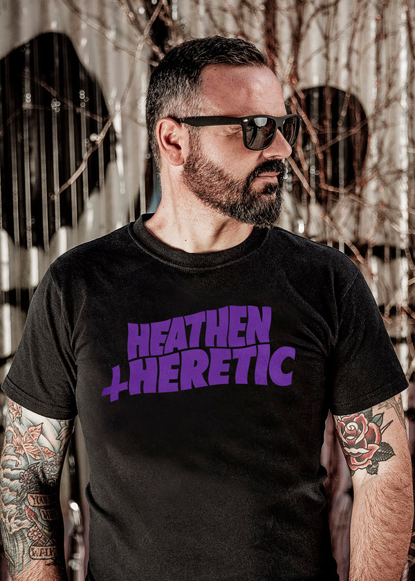Heathen+Heretic Unisex H+H Purple Wave T-Shirt - Black Tee with Purple Design