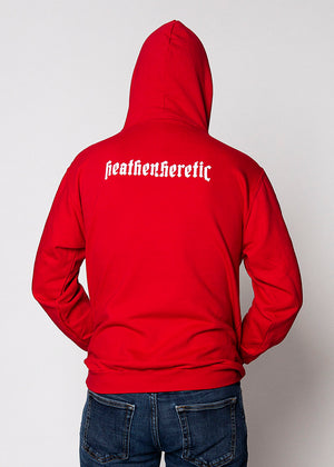 Heathen+Heretic Unisex Heretic Cross Hoodie - Red