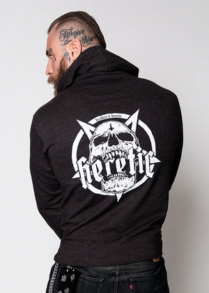 Heathen+Heretic Pentaskull And Logo Mens Hoodie - Black