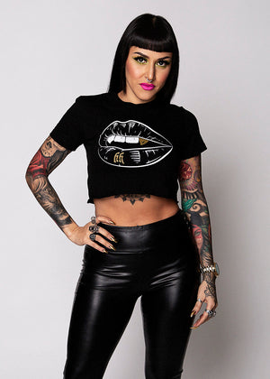 Heathen+Heretic Kiss Of Death Crop Top - Black