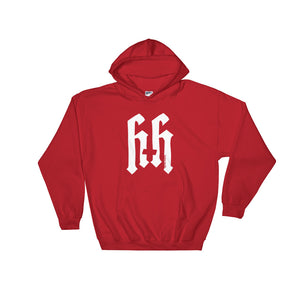 Heathen+Heretic Unisex Pentaskull Logo Hoodie - Red