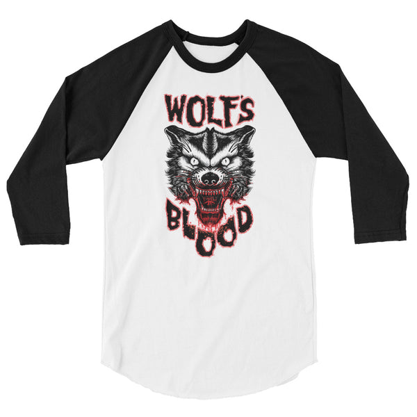 Heathen+Heretic Wolf's Blood 3/4 Unisex Tee - Black Sleeve, White Torso