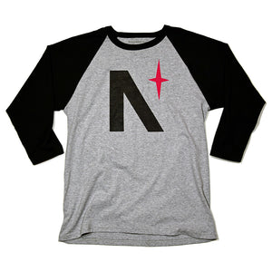 North Star - Black & Grey Heather Baseball Tee