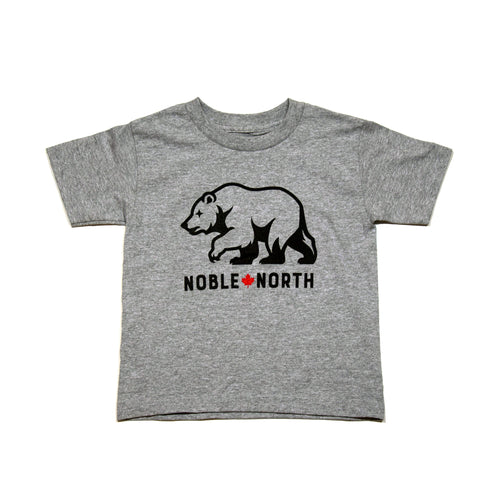 Noble North - Bear Explorer - Grey Heather Kids Tee