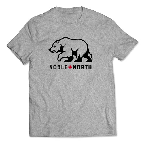 Noble North - Bear Explorer - Grey Heather T-Shirt - Front