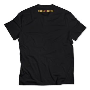 Noble North - Yellow North Star Left Chest Black Tee - Back