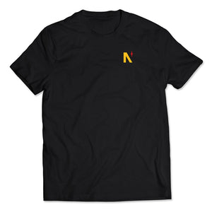 Noble North - Yellow North Star Left Chest Black Tee - Front
