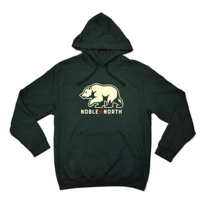 Noble North - Bear Explorer - Forest Green & Cream Hoodie (Unisex)