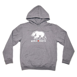 Noble North - Bear Explorer Grey Heather Hoodie - Front