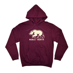 Noble North - Bear Explorer - Maroon Hoodie (Unisex)