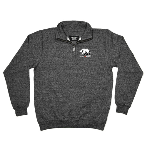 Bear Explorer - Charcoal Heather Quarter Zip Sweater (Unisex) - Front