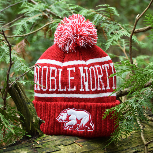 Noble North - Bear Explorer - Red Pom Toque - Front