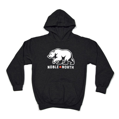 Noble North - Youth Bear Explorer Charcoal Heather Hoodie - Front