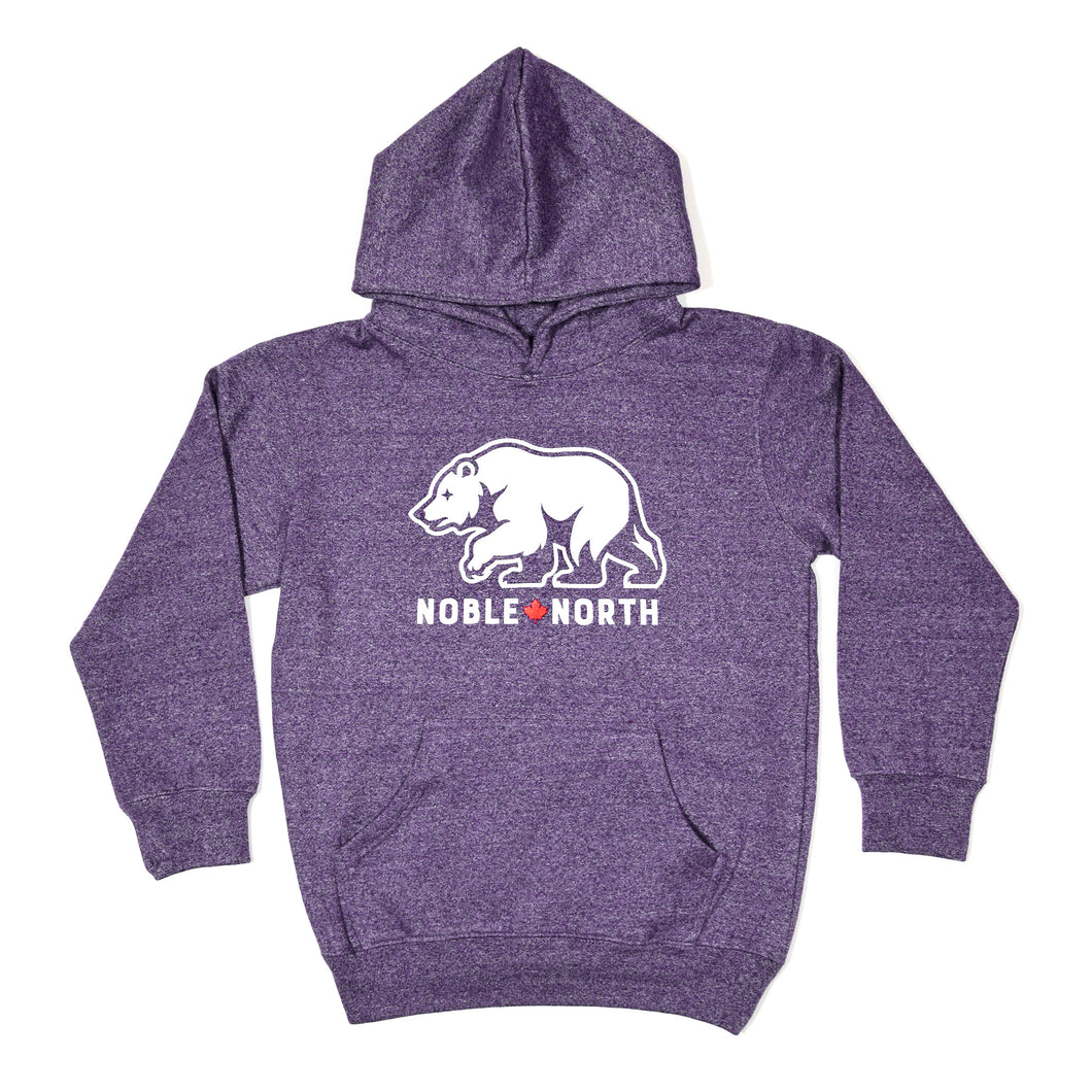 Bear Explorer - Purple Heather Hoodie (Youth)