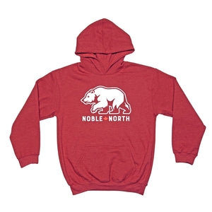 Noble North - Youth Bear Explorer Red Heather Hoodie - Front