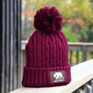 Noble North - Bear Explorer - Maroon Cable Knitted Pom Toque