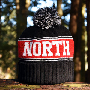 Noble North - Canada Badge - Black & Red Pom Toque - Back