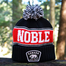 Noble North - Canada Badge - Black & Red Pom Toque - Front