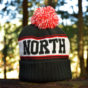 Noble North - Canada Badge - Forest Green & Red Pom Toque - Back