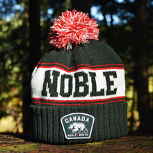Noble North - Canada Badge - Forest Green & Red Pom Toque - Front