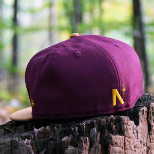 Acorn - Maroon & Panama Tan Faux Nubuck New Era 59Fifty Hat - Back